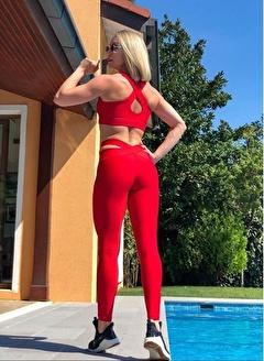 LizzSpor Kadın Kırmızı Spor Sütyen Bra